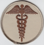 "Caduceus Brown on Desert Tan 3"" round patch"