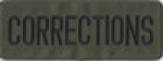 "CORRECTIONS Black on OD Green Back Panel Patch 11"" X 4"""