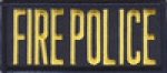 "FIRE POLICE 2"" X 4.25"" Front Panel Patch GOLD on MIDNIGHT NAVY BLUE"