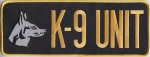 "K-9 UNIT Gold on Black Back Panel Patch 10.75"" X 4"""