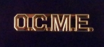 "O.C.M.E. Office of Chief Medical Examiner 3/8"" polished Gold lapel pin"