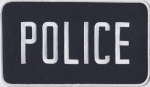 "POLICE White on Midnight Navy Back Panel Patch 9"" X 5"""
