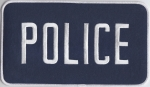 "POLICE White on Navy Blue Back Panel Patch 9"" X 5"""