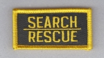 SEARCH RESCUE Tab patch Police/Sheriff/Fire Gold on Dark Green