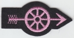Wheel With Arrow PINK on Felt Police Motorcycle/Traffic patch California Style